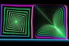 Abstracte vierkante fractal blauw en groen op zwarte Stock Fotografie