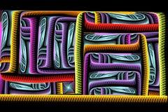 Abstracte vierkante heldere kleurrijke fractal op zwarte achtergrond Royalty-vrije Stock Fotografie