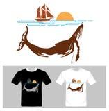 Abstracte vissen Rivier en Boot, T-shirt grafisch ontwerp Stock Foto's