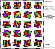 Abstracte visuele riddle - vind twee identieke beelden Stock Afbeeldingen
