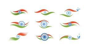Abstracte vlagpictogrammen voor India Stock Afbeelding