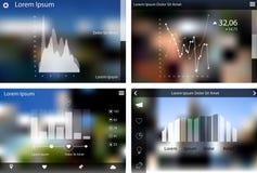 Abstracte vlakke de malplaatjesinzameling van uistatistieken Stock Afbeeldingen