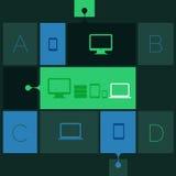 Abstracte vlakke de stappenachtergrond van het ontwerp ui malplaatje Stock Fotografie