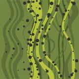 Abstracte vlakke naadloze achtergrond met krul overzees gras en kleurrijke bellen Stock Foto's