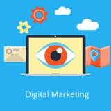 Abstracte vlakke vectorillustratie van digitaal marketing concept Royalty-vrije Stock Afbeelding