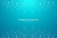 Abstracte vlechtachtergrond met het verbinden van punten en lijnen Golfstroom Vlecht geometrische effect Grote gegevens met samen vector illustratie