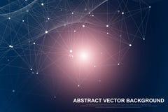 Abstracte vlechtachtergrond met verbonden lijnen en punten Vlecht geometrische effect Grote gegevens met samenstellingen Lijnenvl stock afbeeldingen