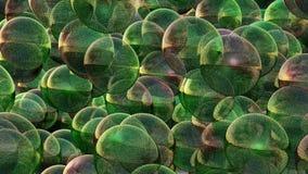 Abstracte vliegende ballen in groene en purpere kleuren stock videobeelden