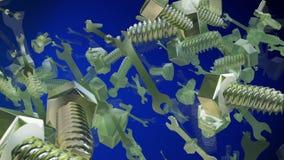 Abstracte vliegende bouten op blauw vector illustratie