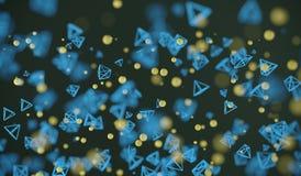 Abstracte Vliegende Chaotische Deeltjesgebieden en Piramides royalty-vrije illustratie
