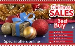 Abstracte vlieger voor het winkelen op virtuele Kerstmiswinkel Stock Afbeeldingen