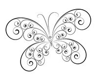 Abstracte vlinder die op witte kleur wordt geïsoleerdh Stock Fotografie
