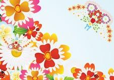 Abstracte vlinder en bloemen Royalty-vrije Stock Afbeeldingen