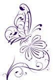 Abstracte vlinder op bloem Stock Illustratie