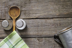 Abstracte voedselachtergrond op uitstekende raad Royalty-vrije Stock Afbeeldingen
