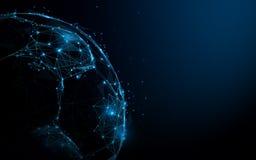 Abstracte Voetbalbal van lijnen en driehoeken, punt verbindend netwerk op blauwe achtergrond illustratievector Stock Foto's