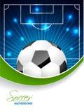 Abstracte voetbalbrochure met barstende bal en ruimte voor tekst stock illustratie