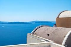 Abstracte vormen van dakoia dorp, Santorini, Griekenland Stock Foto