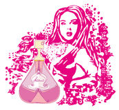 Abstracte vrouw en fles parfum Royalty-vrije Stock Foto