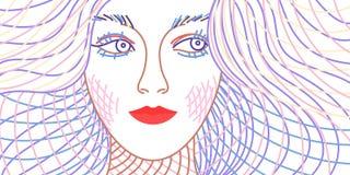 Abstracte vrouw in lijnstijl royalty-vrije illustratie
