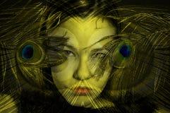 Abstracte vrouw met veren Royalty-vrije Stock Afbeeldingen