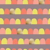 Abstracte vrouwelijke naadloze vectorachtergrond Horizontale opgestelde bogen, halve cirkels Koraal, kalk, purpere, gouden folie  vector illustratie