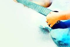 Abstracte vrouwen die de akoestische verf van de gitaarwaterverf spelen stock illustratie