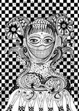 Abstracte vrouwenpriestess zwart-witte lijnkunst Royalty-vrije Stock Foto's