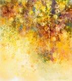 Abstracte Waterverf die witte bloemen en zachte kleurenbladeren schilderen Stock Afbeeldingen