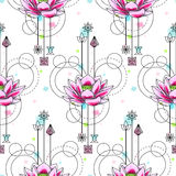 Abstracte Waterverf Lotus Seamless Pattern Stock Foto's