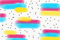 Abstracte waterverfachtergrond met roze, gele en turkooise penseelstreken stock illustratie