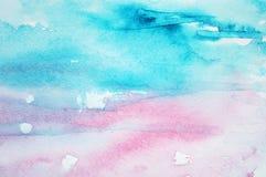 Abstracte waterverfachtergrond op document textuur Royalty-vrije Stock Afbeeldingen