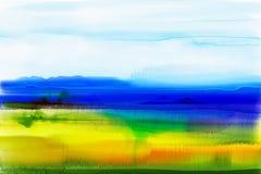 Abstracte waterverfachtergrond Semi abstract waterverf het schilderen landschap Stock Fotografie