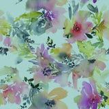 Abstracte waterverfbloemen Naadloos patroon Stock Afbeelding
