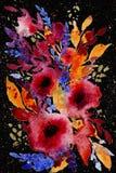 Abstracte waterverfbloemen vector illustratie
