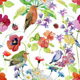 Abstracte waterverfhand geschilderde achtergrond met bloemen en vogels Royalty-vrije Stock Afbeeldingen