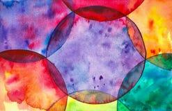 Abstracte waterverfillustratie van kleurrijke heldere zeepbels royalty-vrije illustratie