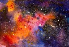 Abstracte waterverfkosmische ruimte met sterrenachtergrond Stock Afbeelding