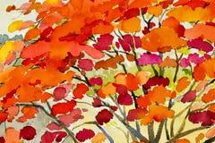 Abstracte waterverflandschap originele het schilderen rode kleur van pauwbloemen Stock Afbeelding
