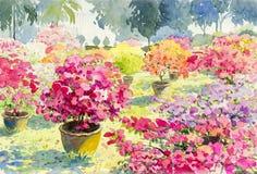 Abstracte waterverflandschap originele het schilderen roze kleur van Document bloem Stock Fotografie