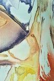 Abstracte waterverfverf, geschilderde geweven verticale zijdestof Stock Afbeelding