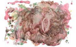 Abstracte waterverfvlek met plonsen en spatten Stock Afbeeldingen