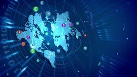 Abstracte wereldkaart en globale muntmarkt Het van een lus voorzien 3d animatie stock videobeelden