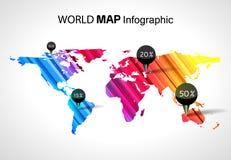 Abstracte wereldkaart infographic met punten en bestemmingen vector illustratie
