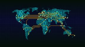 Abstracte wereldkaart van een digitale binaire code inzake een netachtergrond, verbinding tussen steden in de vorm van een gedruk Royalty-vrije Stock Foto's