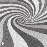 Abstracte wervelingsachtergrond Zwart-wit korrelig dotworkontwerp Pointillismepatroon met optische illusie Gestippelde vector vector illustratie