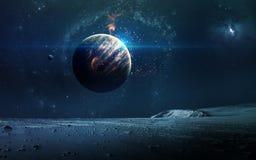 Abstracte wetenschappelijke achtergrond - planeten in ruimte, nevel en sterren Elementen van dit die beeld door NASA-NASA wordt g royalty-vrije stock afbeeldingen