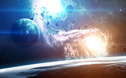 Abstracte wetenschappelijke achtergrond - planeten in ruimte, nevel en sterren Elementen van dit die beeld door NASA-NASA wordt g royalty-vrije stock foto