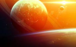 Abstracte wetenschappelijke achtergrond - planeten in ruimte, nevel en sterren Elementen van dit die beeld door NASA-NASA wordt g stock afbeelding