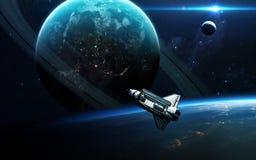 Abstracte wetenschappelijke achtergrond - planeten in ruimte, nevel en sterren Elementen van dit die beeld door NASA-NASA wordt g royalty-vrije stock fotografie